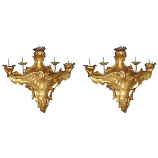 Pair of Louis XV Period Italian Giltwood Five-Light Wall Scones For Sale