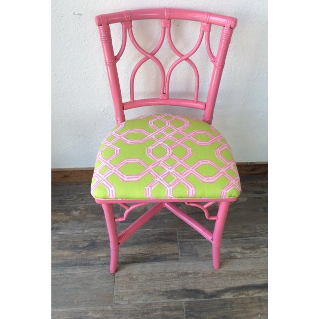 Ficks Reed Vintage Ficks Reed Pink Bamboo Rattan Side Chair For Sale - Image 4 of 5