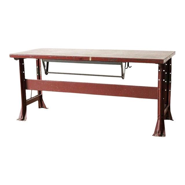 Vintage Red Enamel Table For Sale