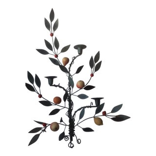 Painted Tole Candle Wall Sconce With Fruits For Sale