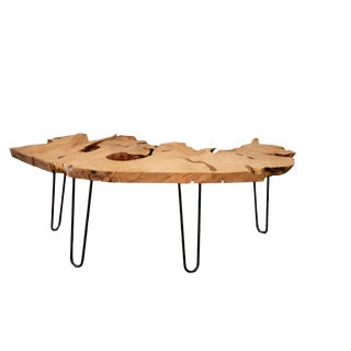 Expressive Live Edge Wood Coffee Table For Sale