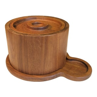 Danish Teak Ice Bucket & Tray by Dansk For Sale