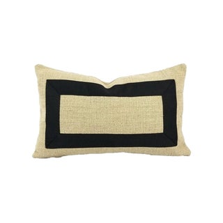 "Rustic Pindler Cheminer in Natural With Black Square Ribbon Embellished Lumbar Pillow Cover - 12"" X 20"" For Sale"