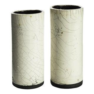 Handmade Raku Vases From Haiti - a Pair For Sale
