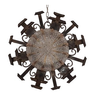 1960s Mid-Century Spanish Wrought Iron Glass Sconce Flush Mount For Sale