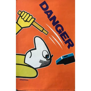 1971 Original French Workplace Safety Poster - Danger For Sale