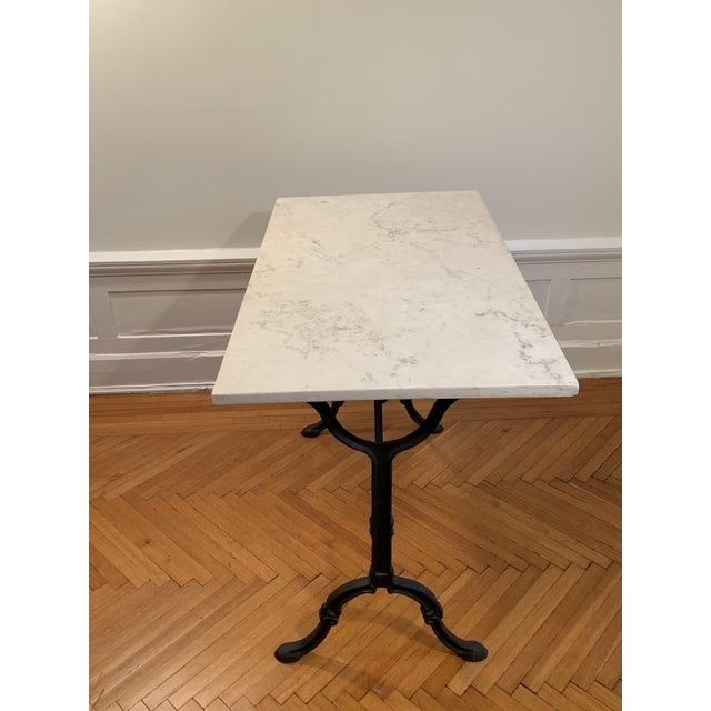 Traditional 20th Century Traditional Marble Top Table With Cast Iron Base For Sale - Image 3 of 6