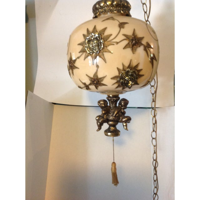 Hollywood Regency Hanging Swag Lamp With Cherubs For Sale - Image 4 of 8