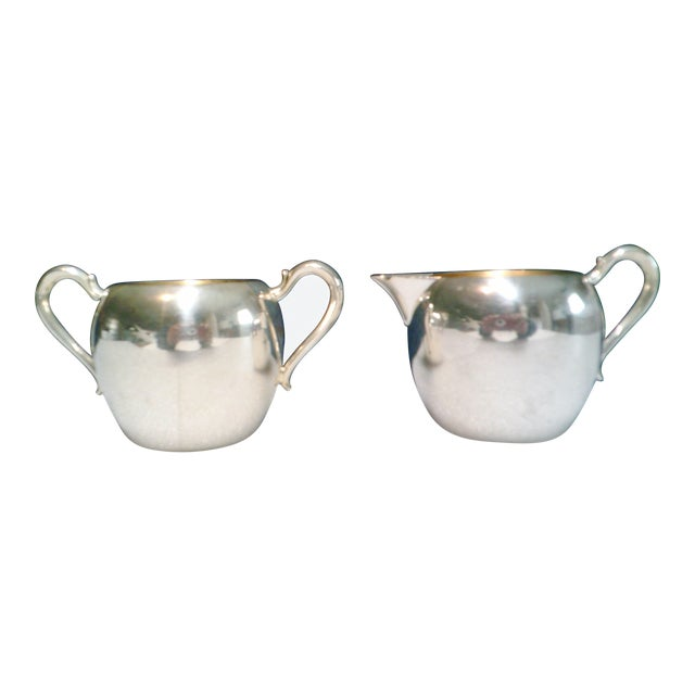 Vintage Wallace Silver Plate Cream & Sugar Set - A Pair For Sale