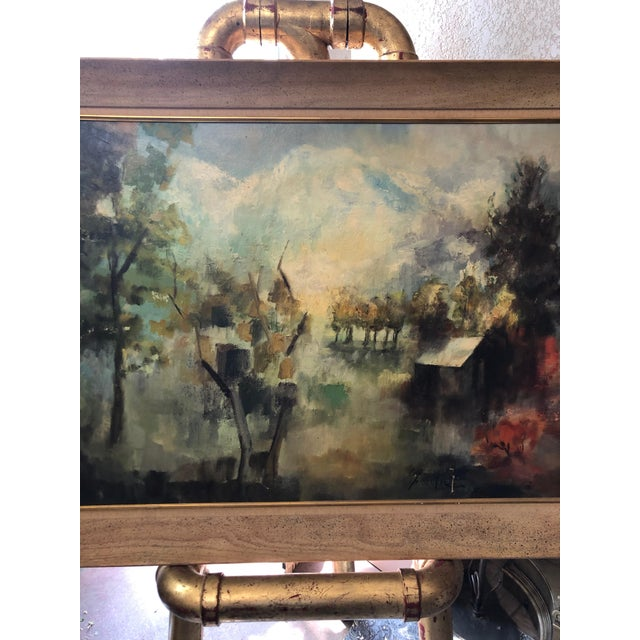 1950s Vintage Framed Rural Mountain Home Landscape Painting For Sale - Image 4 of 8