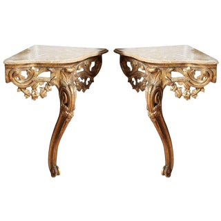 Pair of Corner Console Tables For Sale