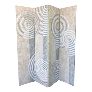 Geometric Tessellated Stone Room Divider For Sale
