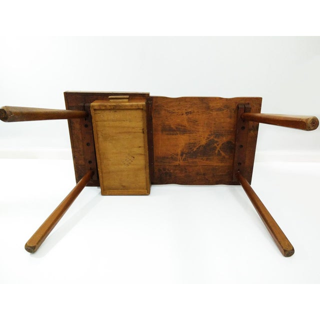 Vintage Early American Cobbler Table With Drawer For Sale - Image 4 of 7