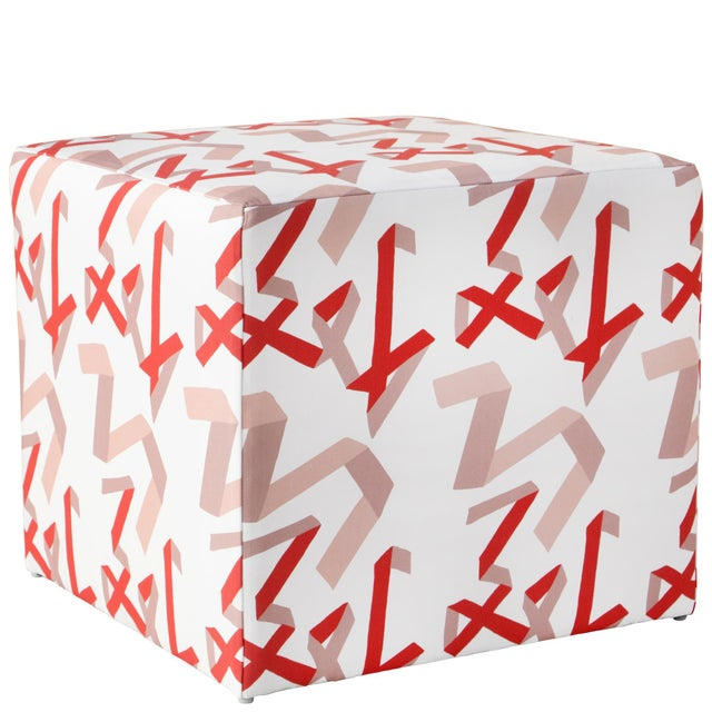 Cube Ottoman in Pink & Red Ribbon by Angela Chrusciaki Blehm for Chairish For Sale In Chicago - Image 6 of 6