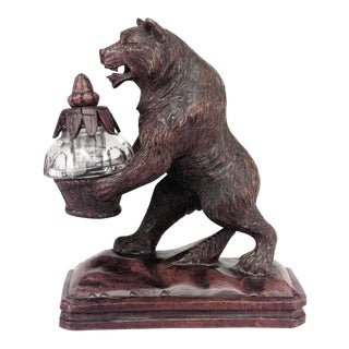 Rustic Black Forest '19th Century' Walnut Figure of Bear Holding Crystal Inkwell For Sale