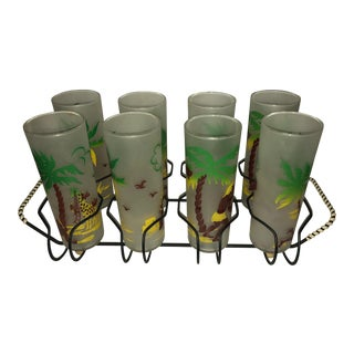 Hawaiian Bar High Ball Glasses & Tray - Set of 8