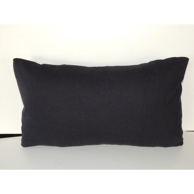 Woven Black and Indigo Fez Textile Lumbar Decorative Pillow For Sale - Image 4 of 5