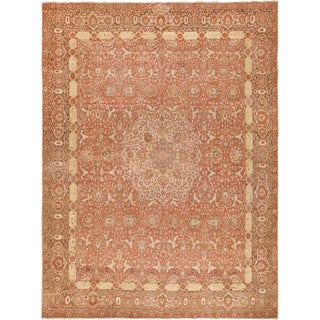 Room Size Antique Persian Tabriz Rust Color Rug - 10′7″ × 14′5″ For Sale