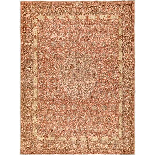 Room Size Antique Persian Tabriz Rust Color Rug - 10′7″ × 14′5″ For Sale