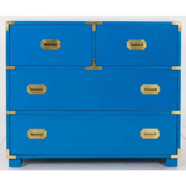 1970s Newly Refinished Baker Blue Campaign Dresser - Image 6 of 6