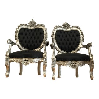 Black Silver Tufted Throne Chairs - A Pair For Sale