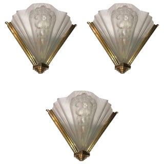Atelier Petitot Signed French Art Deco Ribbed Wall Sconces - Set of 3 For Sale