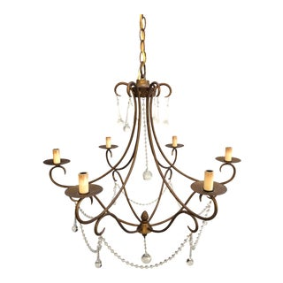 Currey and Company, Agostina Crystal and Rhine Gold Chandelier For Sale