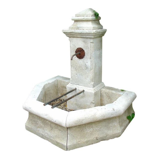 Carved Limestone Wall Fountain from France For Sale
