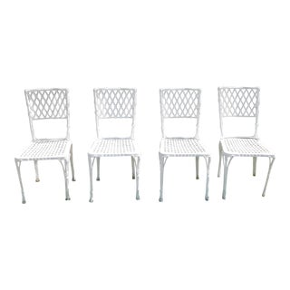Vintage Bamboo Style Metal Outdoor Chairs - Set of 4 For Sale