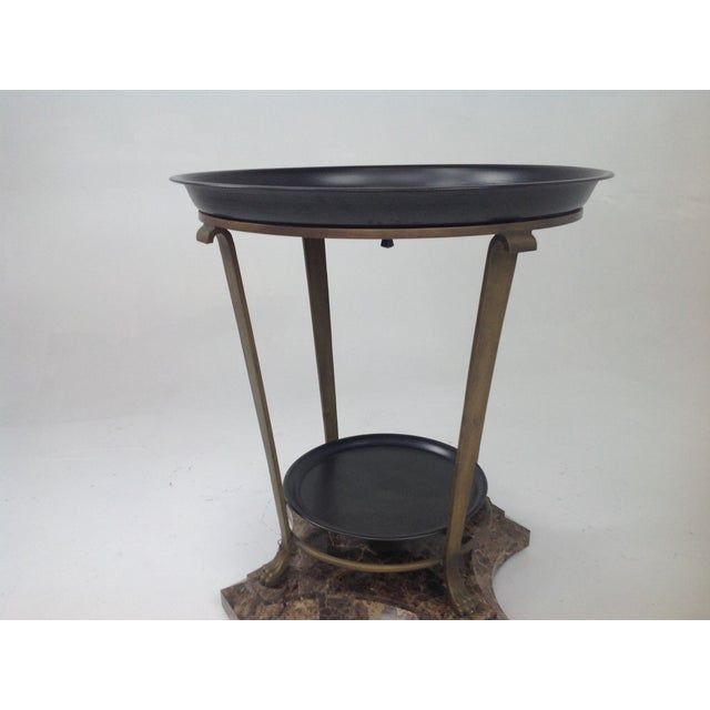 Claw Foot Travertine & Iron Foyer Table For Sale - Image 5 of 7