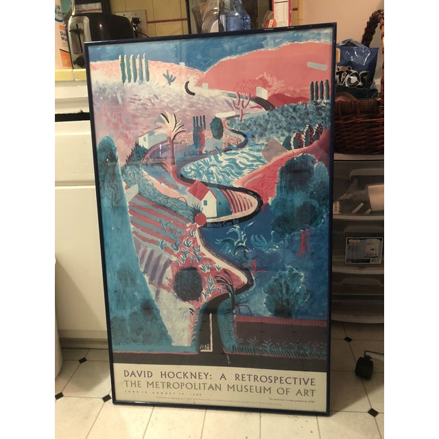 Rare and large Lithograph Poster of David Hockney Retrospective Exhibition taking place in 1988 at the Metropolitan Museum...