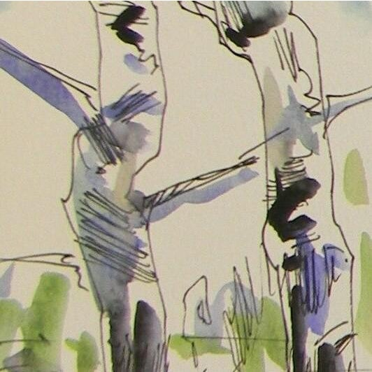 Contemporary Jose Trujillo Original Birch Trees Watercolor Painting For Sale - Image 3 of 4