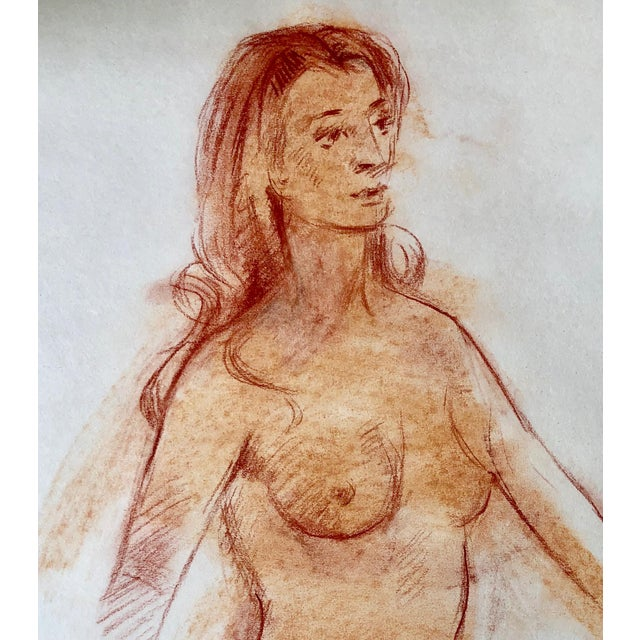 "1970s Original Red Chalk Nude Sketch-18""x22"" For Sale - Image 5 of 6"