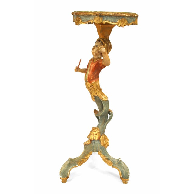 Early 20th Century 19th-20th Century Italian Venetian Style Polychromed Pedestal Stand For Sale - Image 5 of 5