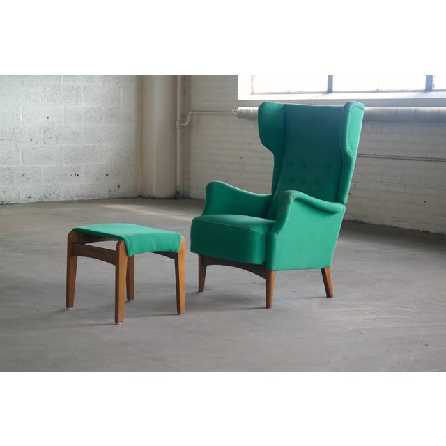 Fritz Hansen 1950s Danish Wingback Chair Model 8023 With Ottoman For Sale - Image 11 of 12