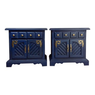 Thomasville French Country Rustic Navy Blue Nightstands - a Pair
