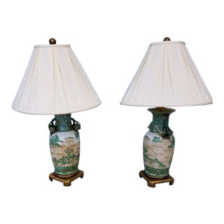 Chinoiserie Green and Gold Lamps With Silk Shades - a Pair For Sale
