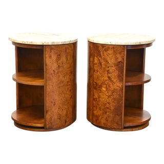 Widdicomb Burl and Travertine End Tables - a Pair For Sale