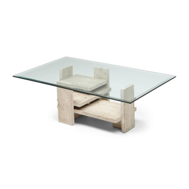 Travertine Postmodern Coffee Table - 1970s For Sale - Image 10 of 10