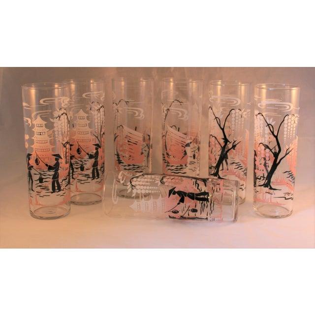 Asian Vintage Libbey Asian Design HighBall Cocktail Glasses - Set of 7 For Sale - Image 3 of 7