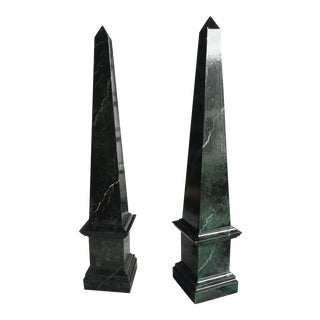 Wooden Obelisks Faux Marble Finish- A Pair