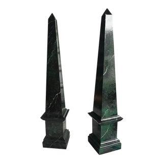 Wooden Obelisks Faux Marble Finish- A Pair