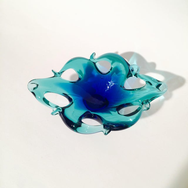 Murano Blue/Green Art Glass Dish - Image 3 of 5