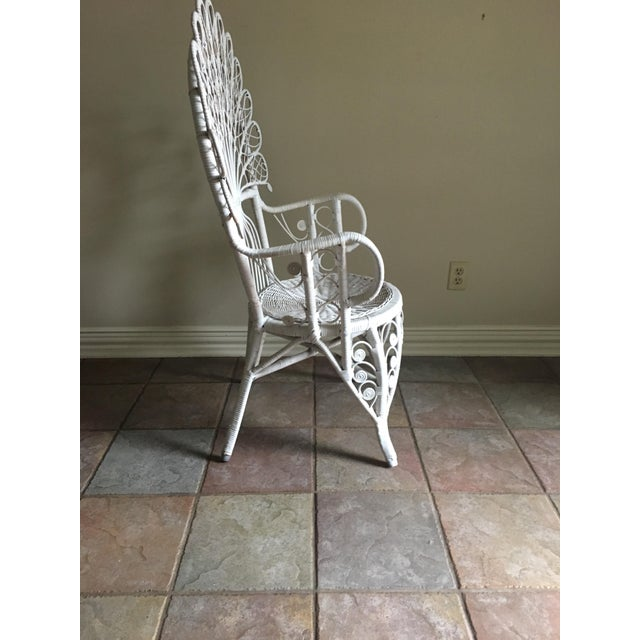 White Wicker Peacock Chair For Sale - Image 4 of 6