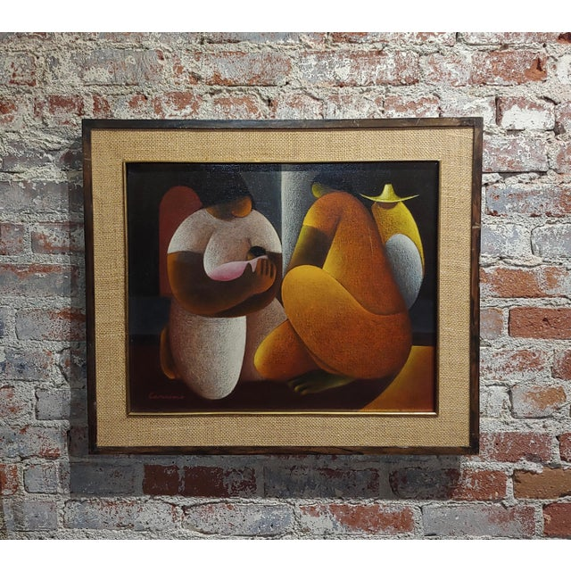 Victor Manuel Cancino -Family With Child-Mexican Cubist-Oil Painting For Sale - Image 9 of 9