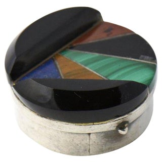 Mid-Century Modern Mexican Silver & Stone Inlay Pill Box For Sale