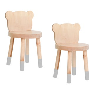 Nico & Yeye Baba Kids Chair Solid Maple Gray - Set of 2 For Sale
