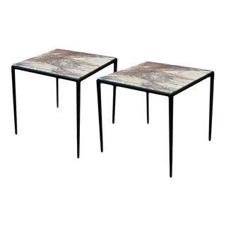 "Side Tables With Lavender / Gray Marble and ""Bronze"" Bases - a Pair For Sale"