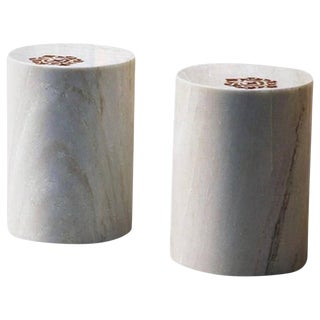AKMD Collection to Die for Inlaid Marble Stool Table For Sale