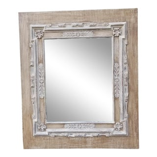 Vintage Large Carved Reclaimed Wood Mirror